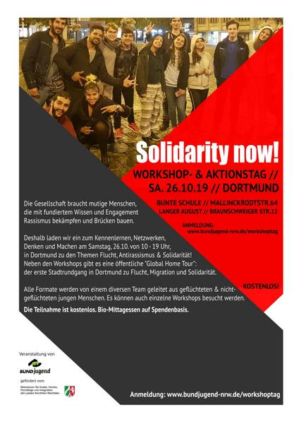 "Flyer des Workshop- und Aktionstags ""Solidarity Now"" der BUNDjugend"