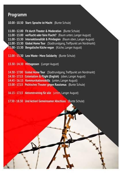 "Programm des Workshop- und Aktionstags ""Solidarity Now"" der BUNDjugend"